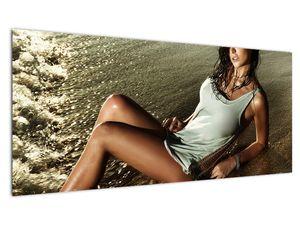 Slika žene na plaži (V020937V10040)