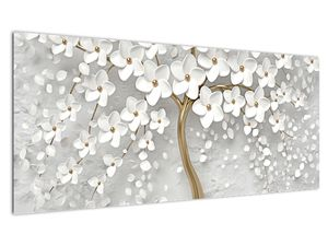 Obraz bílého stromu s květinami (V020977V10040)