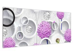 Tablou cu abstracție 3D cu cercuri și flori (V020981V10040)