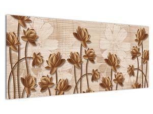 Obraz abtrakce květin - hnědá (V021309V10040)