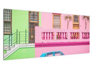 Obraz auta - barevné domy (V021582V10040)
