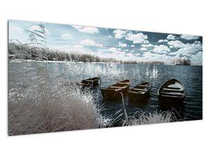 Slika - Drveni čamci na jezeru (V021925V10040)