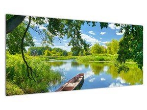 Slika ljetne rijeke s brodicom (V021977V10040)