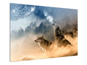 Obraz - vlci vyjúci na mesiac (V020509V10070)