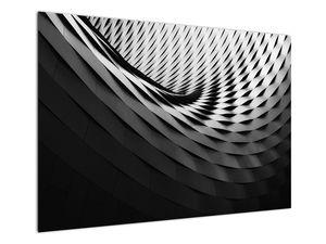 Abstraktní obraz - černobílá spirála (V020667V10070)