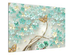 Obraz květiny s motýly (V020716V10070)