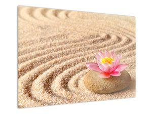 Obraz kameňa s kvetinou na piesku (V020864V10070)
