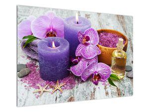 Obraz orchideí a svíček (V020894V10070)
