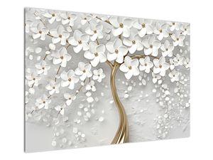 Obraz bílého stromu s květinami (V020977V10070)