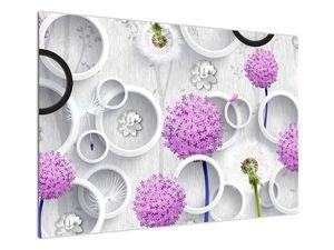 Tablou cu abstracție 3D cu cercuri și flori (V020981V10070)