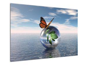 Obraz motýla na skleněné kouli (V021198V10070)