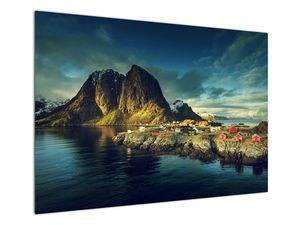 Obraz rybářské vesnice v Norsku (V021280V10070)