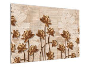 Obraz abtrakce květin - hnědá (V021309V10070)