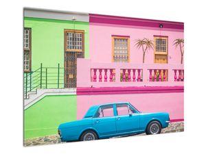 Obraz auta - barevné domy (V021582V10070)