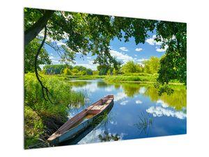 Slika ljetne rijeke s brodicom (V021977V10070)