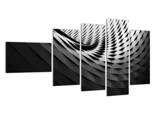 Abstraktní obraz - černobílá spirála (V020667V11060)