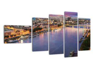 Obraz nočného mesta Bratislavy s riekou (V020706V11060)