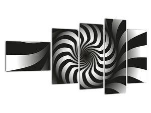 Abstraktní obraz černobílé spirály (V020831V11060)