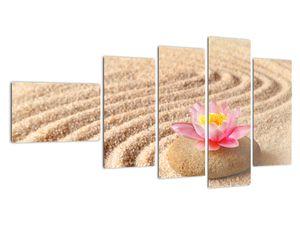 Obraz kameňa s kvetinou na piesku (V020864V11060)