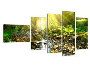 Obraz řeky v zeleném lese (V020942V11060)
