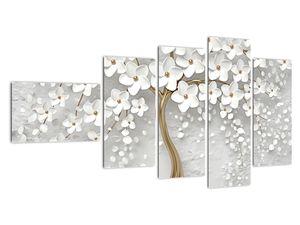 Obraz bílého stromu s květinami (V020977V11060)