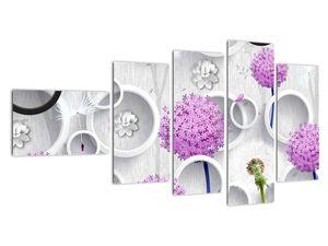 Tablou cu abstracție 3D cu cercuri și flori (V020981V11060)