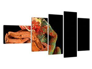 Obraz chameleona na větvi (V021125V11060)