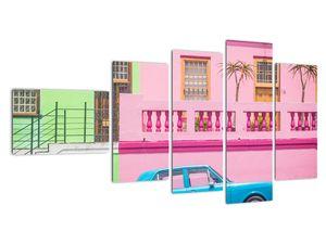 Obraz auta - barevné domy (V021582V11060)