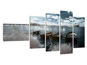 Obraz - Dřevěné loďky na jezeru (V021925V11060)