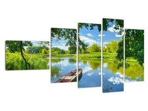 Slika ljetne rijeke s brodicom (V021977V11060)