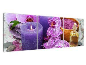 Obraz orchideí a svíček (V020894V12040)