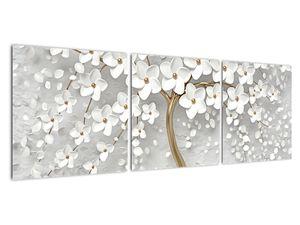 Obraz bílého stromu s květinami (V020977V12040)