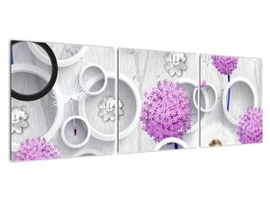 Tablou cu abstracție 3D cu cercuri și flori (V020981V12040)