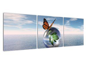 Obraz motýla na skleněné kouli (V021198V12040)
