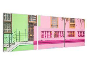 Obraz auta - barevné domy (V021582V12040)