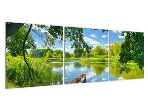 Slika ljetne rijeke s brodicom (V021977V12040)