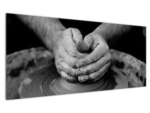 Černobílý obraz - výroba keramiky (V020349V12050)