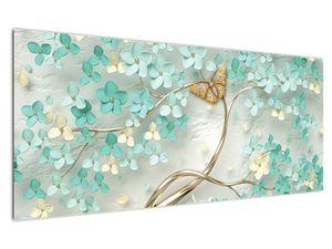 Obraz květiny s motýly (V020716V12050)