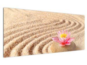Obraz kameňa s kvetinou na piesku (V020864V12050)