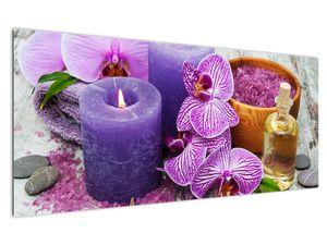 Obraz orchideí a svíček (V020894V12050)