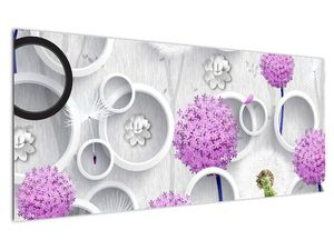 Tablou cu abstracție 3D cu cercuri și flori (V020981V12050)