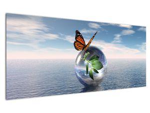 Obraz motýla na skleněné kouli (V021198V12050)