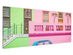 Obraz auta - barevné domy (V021582V12050)