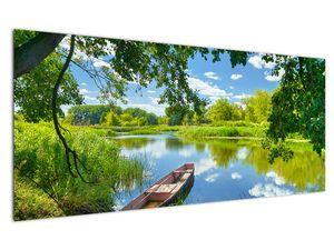 Slika ljetne rijeke s brodicom (V021977V12050)