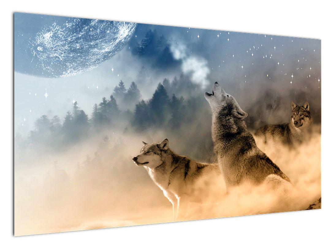 Slika - volkovi, ki tulijo v luno (V020509V12070)