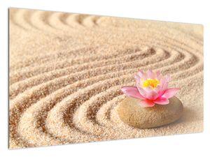 Slika kamena s cvijetom na pijesku (V020864V12070)