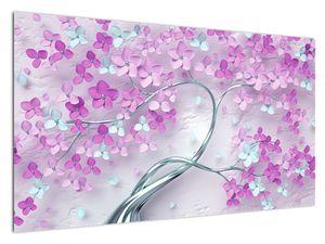Slika cvijeća na srebrnom deblu - apstrakcija (V021303V12070)