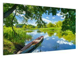Slika ljetne rijeke s brodicom (V021977V12070)
