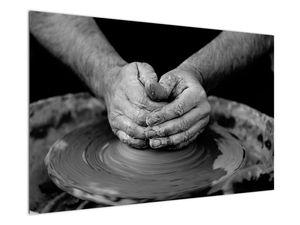 Černobílý obraz - výroba keramiky (V020349V12080)