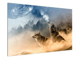 Farkasok üvöltése a holdra képe (V020509V12080)